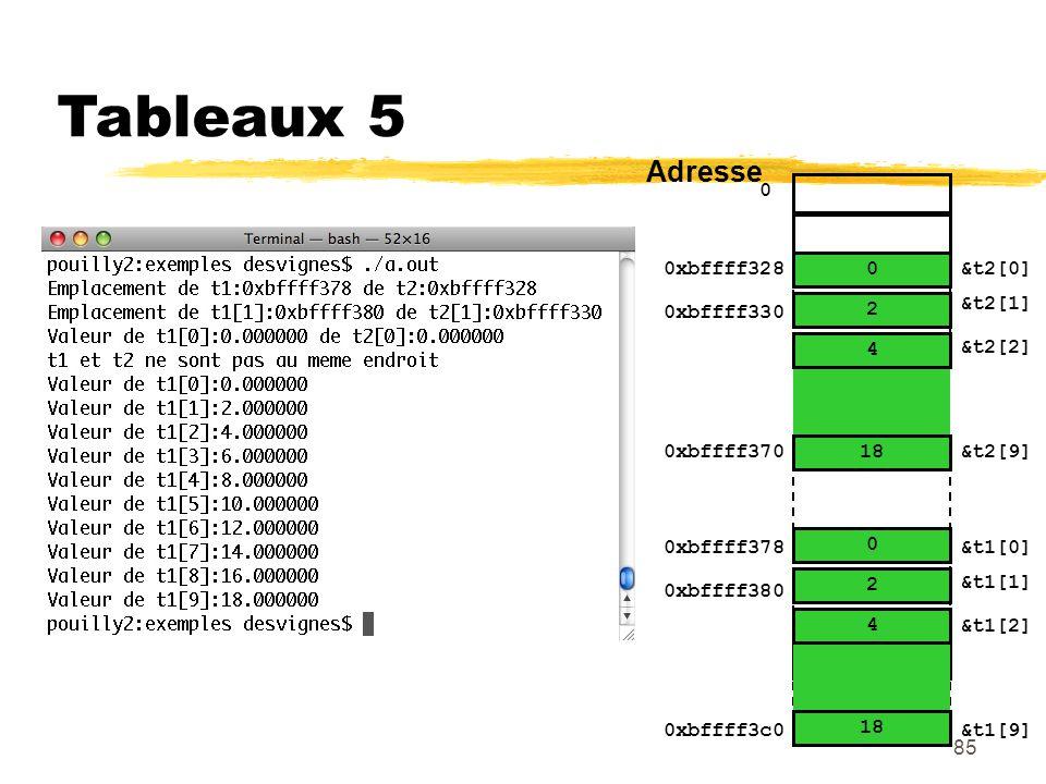 Tableaux 5 Adresse 0xbffff328 18 4 2 &t2[0] 0xbffff330 4.6 2 &t2[1]